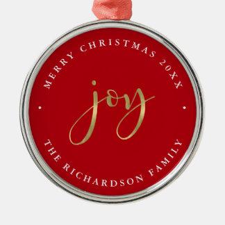 Ornement Rond Argenté Noël rouge d'or de la joie   Joyeux