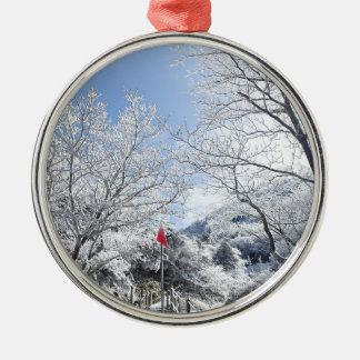 Ornement Rond Argenté Noël rural de paysage d'hiver