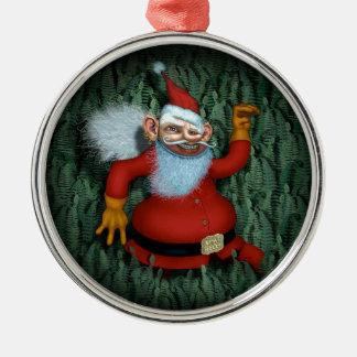 Ornement Rond Argenté Noël vif !