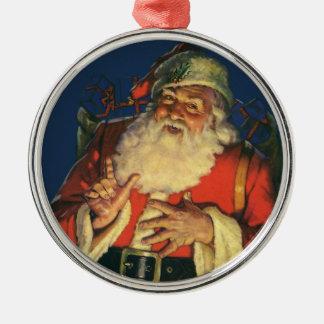 Ornement Rond Argenté Noël vintage, le père noël gai avec des jouets