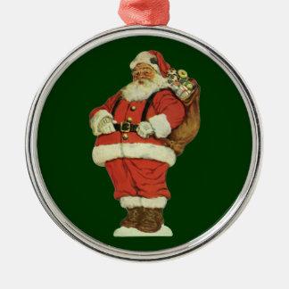 Ornement Rond Argenté Noël vintage, le père noël victorien avec des