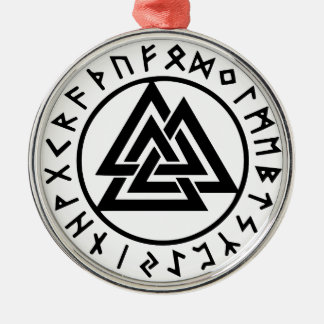 Ornement Rond Argenté Noeud païen Valknut d'Odins de symboles