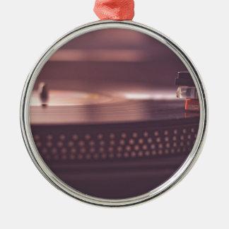 Ornement Rond Argenté Noir d'équipement de vinyle de disque de musique