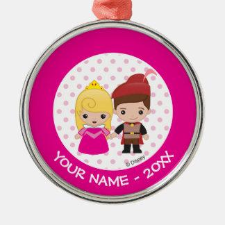 Ornement Rond Argenté Nom de l'aurore et de prince Philip Emoji Add Your