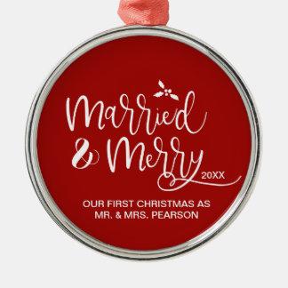 Ornement Rond Argenté Notre premier Noël, marié, joyeux, rouge