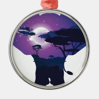 Ornement Rond Argenté Nuit africaine avec l'éléphant 3