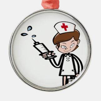 Ornement Rond Argenté nurse8