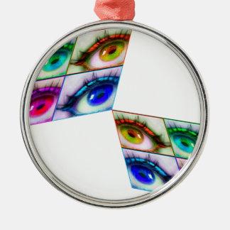 Ornement Rond Argenté oeil couleur
