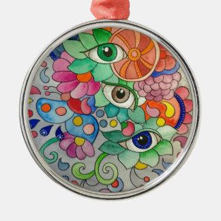 Ornement Rond Argenté Oeils en couleur