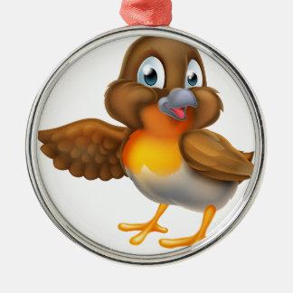 Ornement Rond Argenté Oiseau de Robin de bande dessinée dirigeant l'aile