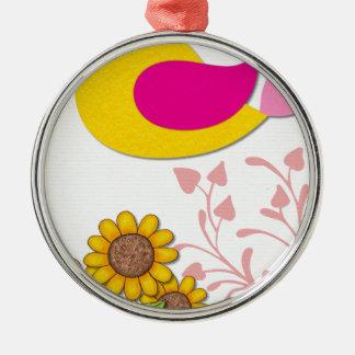 Ornement Rond Argenté oiseau floral, art, conception, beau, nouvelle,