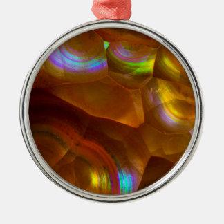 Ornement Rond Argenté Opale de feu orange iridescente
