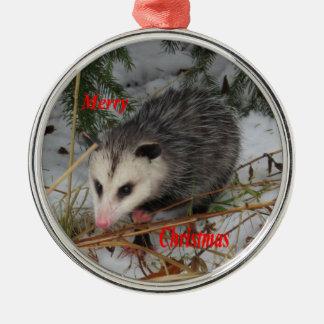 Ornement Rond Argenté Opossum de neige