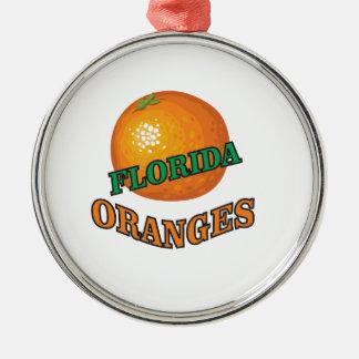 Ornement Rond Argenté Oranges de la Floride