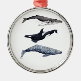 Ornement Rond Argenté Orque, baleine bossue et baleine gris