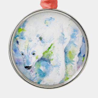 Ornement Rond Argenté ours blanc