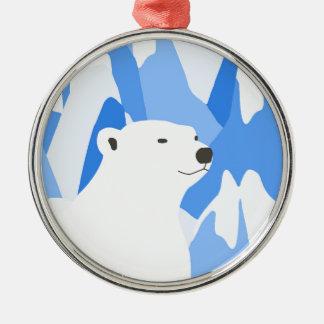 Ornement Rond Argenté Ours blanc dans la conception froide