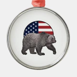 Ornement Rond Argenté Ours gris américain