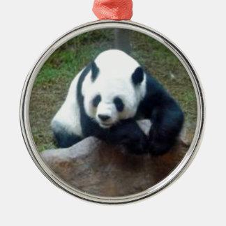 Ornement Rond Argenté Ours panda chinois