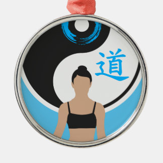 Ornement Rond Argenté Paix de yoga de Yin Yang