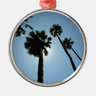Ornement Rond Argenté Palmiers Los Angeles Hollywood Etats-Unis