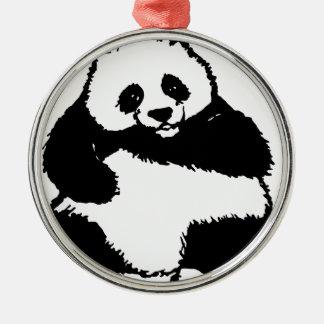 Ornement Rond Argenté Panda