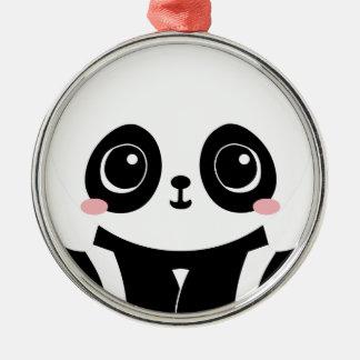 Ornement Rond Argenté Panda adorable