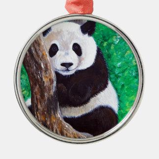 Ornement Rond Argenté Panda dans un arbre
