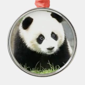Ornement Rond Argenté Panda de bébé