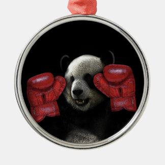 Ornement Rond Argenté Panda de boxe