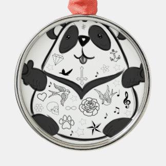 Ornement Rond Argenté Panda de tatouage