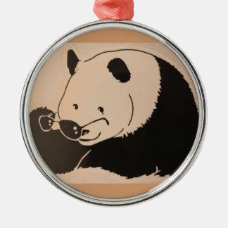 Ornement Rond Argenté Panda frais avec des nuances