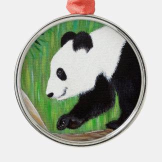Ornement Rond Argenté Panda heureux