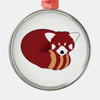 Ornement Rond Argenté Panda rouge