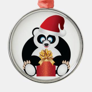Ornement Rond Argenté Panda se reposant avec le présent s'ouvrant de