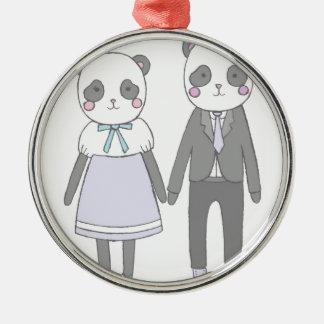 Ornement Rond Argenté Pandas dans l'amour