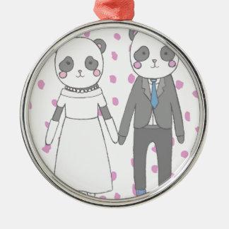 Ornement Rond Argenté Pandas de mariage