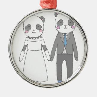 Ornement Rond Argenté Pandas de mariage, arrière - plan blanc