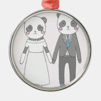 Ornement Rond Argenté Pandas de mariage, arrière - plan rose