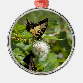 Ornement Rond Argenté Papillon de machaon de tigre sur le fleur sauvage