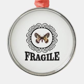 Ornement Rond Argenté papillon fragile rond