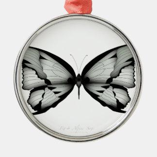 Ornement Rond Argenté Papillon sage alpin