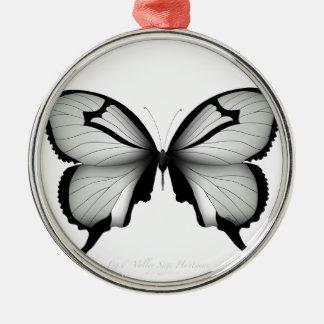 Ornement Rond Argenté Papillon sage de chasseur de vallée