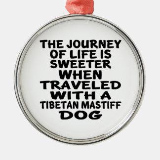 Ornement Rond Argenté Parcouru avec un associé tibétain de MastiffLife