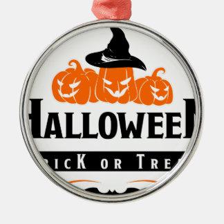 Ornement Rond Argenté Partie de des bonbons ou un sort de Halloween