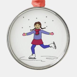 Ornement Rond Argenté Patineur artistique de fille de patinage de glace