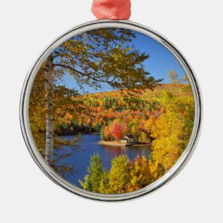 Ornement Rond Argenté Paysage d'arbre d'automne, Maine