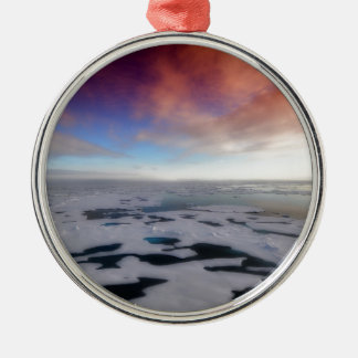 Ornement Rond Argenté Paysage d'Arctique de Noël
