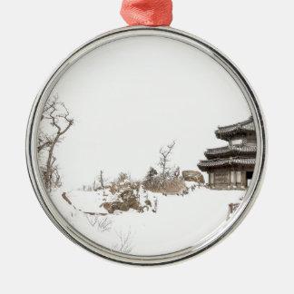 Ornement Rond Argenté Paysage d'Asiatique d'hiver
