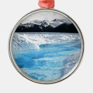 Ornement Rond Argenté Paysage de blanc de rivière d'hiver de Noël